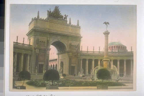 "Arch of the Setting Sun, topped with ""The Nations of the West"" (designed by A. Stirling Calder, with collaboration of Leo Lentelli and Frederick G.R. Roth); ""Fountain of the Setting Sun"" (Adolph A. Weinman, sculptor). Court of the Universe (McKim, Mead &)"