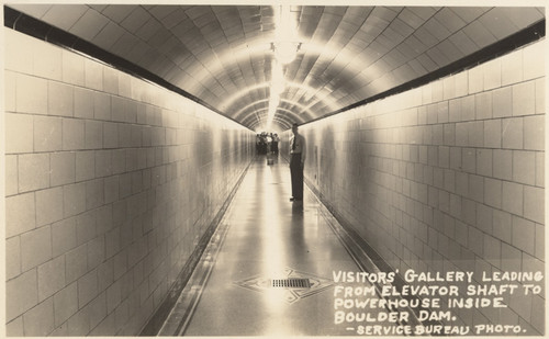 Calisphere: Visitors gallery leading from elevator shaft to