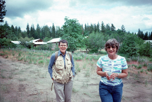 Jean Beecher (left) and June Levulett at the Janesville Bear Dance--1982