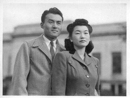 Mr. and Mrs. Fred Ikeguchi, whose wedding took place in Cleveland recently, are typical of the loyal Japanese-Americans for whom