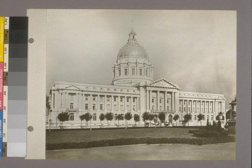 [East facade and Civic Center Plaza.]