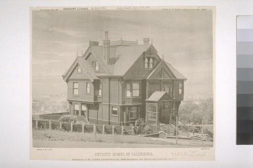 Residence of Mr. James Cunningham, bet. Pierce and Scott Sts., S. F., Artotype No. 12, with S. F. News Letter, June 4th, 1887