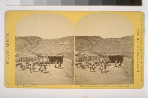Issuing rations to the Navajoes, Fort Defiance, N. M