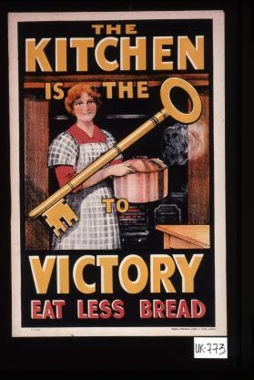The kitchen is the [drawing of a key] to victory. Eat less bread