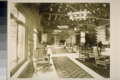 [Lobby, unidentified lodge. Monterey County.]