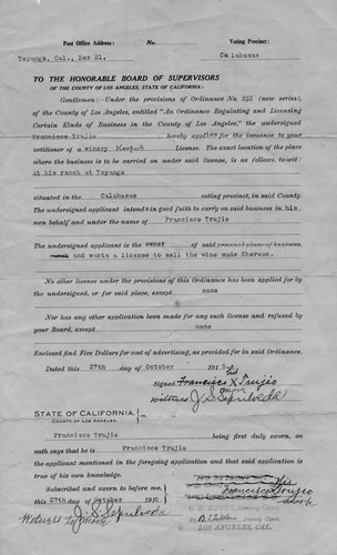 Francisco Trujio's wine makers license for his Topango Ranch, 1910