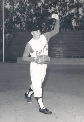 Skip Hall, Chapman College Panthers baseball team member at Hart Park, Orange, California