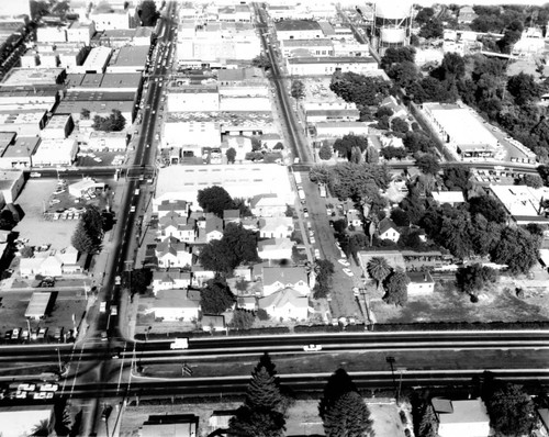Santa Rosa, California, looking east from Highway 101 between 3rd and 2nd Streets (aerial view), September 25, 1962