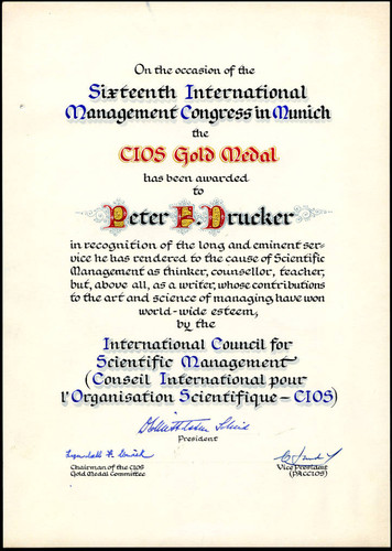CIOS Gold Medal presented to Peter F. Drucker