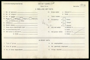 WPA Low income housing area survey data card 126, serial 18679, vacant