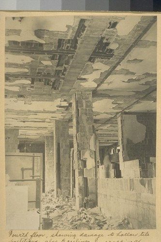 Fourth floor, showing damage to hollow tile partitions; also to ceilings by cracking of lower flanges of tile, - what remains is not able to sustain weight