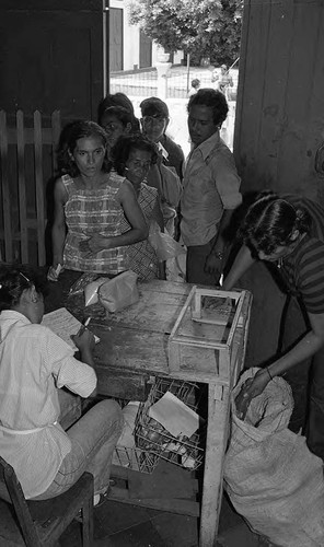 People wait in line for food rations, Nicaragua, 1979