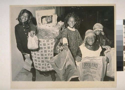Halloween Parade. (Left to right) Christine Montgomery (11), Darrell Coleman (9), Cheryl Denise Coleman (8), Harold Power (7), Ricky Power (8)