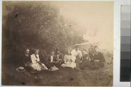 [Unidentified party on grass. Shebley Park?]