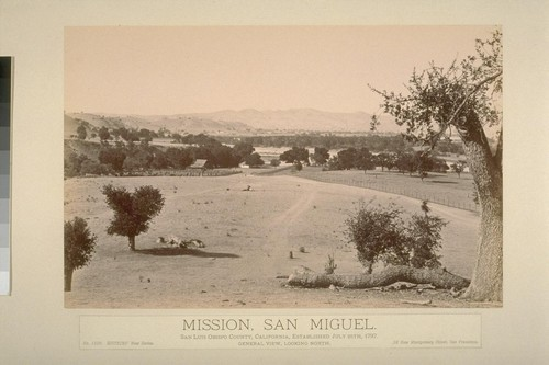 Mission, San Miguel. San Luis Obispo County, California, established July 25th, 1797. General view, looking north