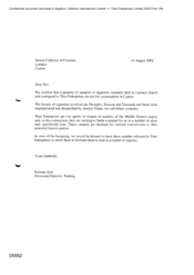 [Letter from Norman Jack to Senior Collector of Customs regarding samples of cigarettes in Larnaca airport not being used for consyumption in Cyprus]