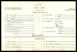 WPA Low income housing area survey data card 248, serial 35779, vacant
