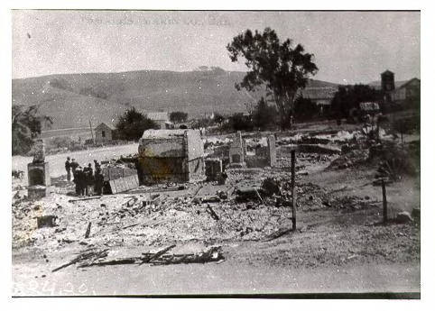 Tomales in ruins after the huge May 24, 1920 fire