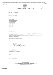 [Letter from PRG Redshaw to Shaun Fahey regarding enclosure of a witness statment and excel spreadsheet copy as requested]