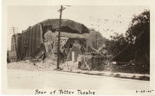 Santa Barbara 1925 Earthquake damage - Rear of Potter Theater