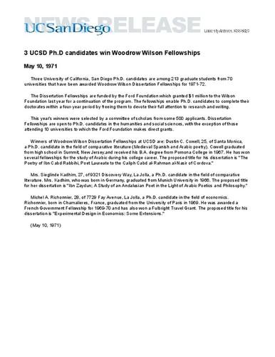 Dissertation year fellowship ucsd