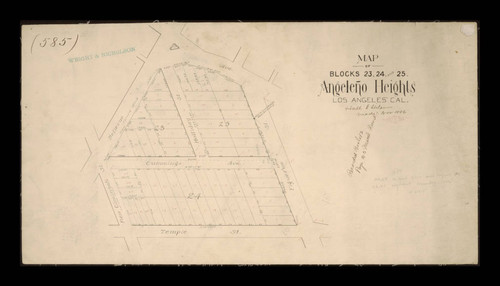 Map of Blocks 23, 24, and 25, Angeleno Heights, Los Angeles, California, November 1886