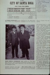 Newspaper article with photo of Luther Burbank and Edwin Markham