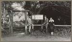 [Alfred Fuhrman with man and woman posing near Muir Woods National Monument sign]