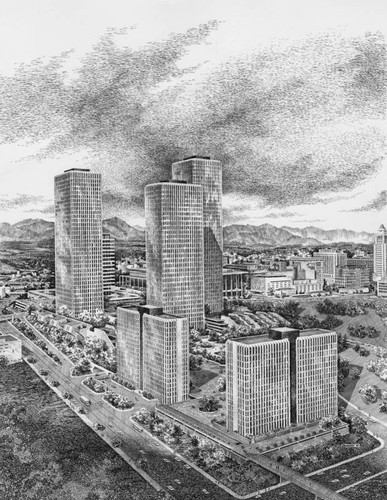 Sketch of Bunker Hill Towers