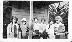 Group of six unidentified young women at Bodega Bay, about 1915