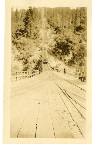 Incline railroad cable cars, western boundary logging