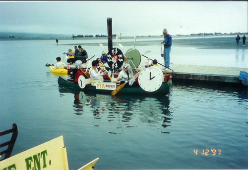 "Whale Ship Road and ""PTA Rocks!"" floats at the Fisherman's Festival in Bodega Bay, 1997"