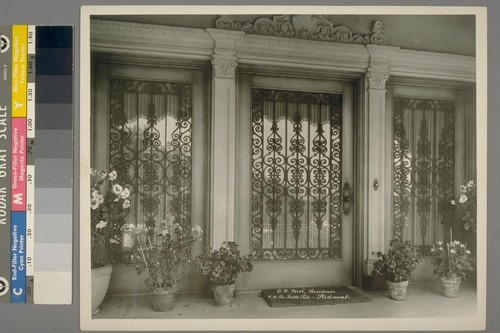 C.C. [i.e. C.L.] Best Residence. #30 La Salle Rd., Piedmont. [Doorway, with iron ornamentation.]