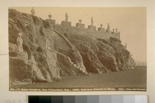 Sutro Heights, San Francisco, Cal[ifornia], 1886. Stairway carved in rock