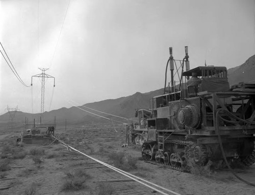 Wire stringing on the Pacific Intertie line south of Bishop, California