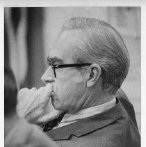 Richard H. Marriott, Mayor of Sacramento, 1968-1975. Here, Mayor Marriott with his hand to his mouth, looking pensive