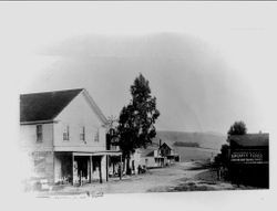 J. McCaughey General Store and Sperry's Flour building in Bodega, about 1890s