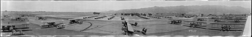 United Airport, military planes on runway, Burbank. April 26, 1930