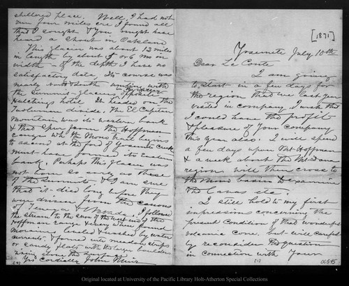 Letter from John Muir to [Joseph] Le Conte, [1871] Jul 10