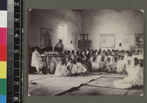 Students assembled in classroom, Madagascar, ca. 1900
