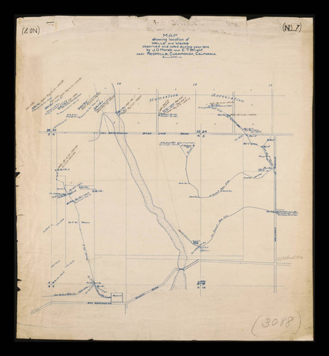 Cucamonga California Map.Calisphere Map Showing Location Of Wells And Weirs Observed And