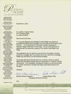 Letter, Merrill & Robert Haimsohn and Linda & Shearn Platt to Andrew J. and Erna Viterbi, December 3, 2003
