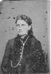 Unidentified woman (possibly friend or family member of Otis Allen family) in Victorian dress, about 1870