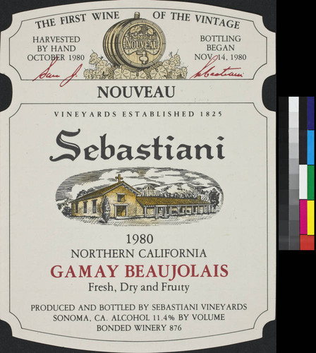 Proprietor's Reserve Sebastiani 1982 Sonoma Valley chardonnay : the result of special care in the vineyards and at the winery, this wine represents my firm dedication to excellence in winemaking, [signed] Sam J. Sebastiani ; alcohol 13.1 % by vol