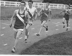 Analy High School Tigers track, about 1960s--during the B medley relay, Don Madronick of Analy leads the pack on a turn
