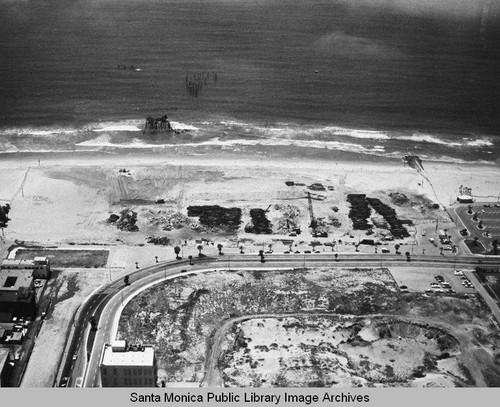 Remains of the Pacific Ocean Park Pier looking west from Santa Monica, May 7, 1975, 1:00 PM