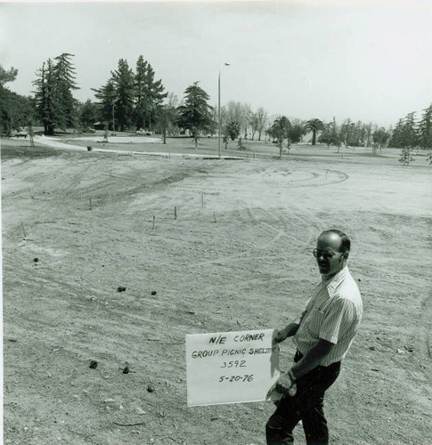 View of construction of Veterans Memorial Park