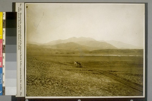 Showing the superintendent of the mines in Death Valley approaching the works. The white streak showing in the distance is alkali