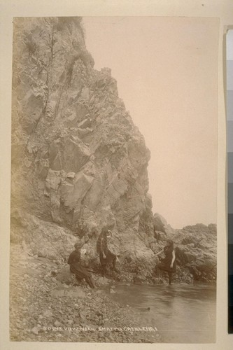 No. 243--View near Shatto Catalenai [i.e. Santa Catalina Island? Girls wading near cliff]