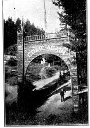 "Wooden ""Come Again"" arch at Camp Meeker California near the Russian River"